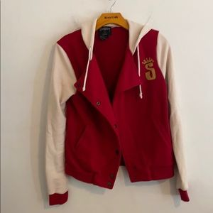 Stussy small red & white jacket with hood